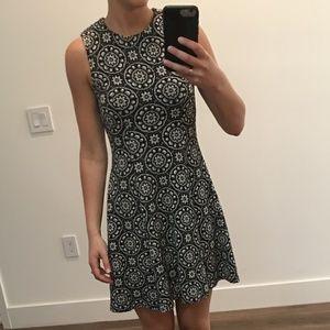 Zara navy & white patterned dress